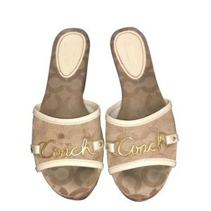 Coach Beige Monogram Canvas Sandals